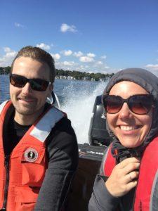 Luke Loken (L) and Samantha Oliver (R) on an autumn FLAMe run