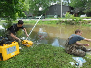 Nick Gubbins and Ryan Hassemer measuring greenhouse gas emissions and collecting chemistry samples from an urban stream